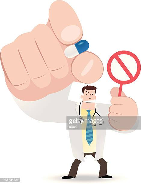 doctor pinching a pill and holding prohibition sign - antibiotic stock illustrations, clip art, cartoons, & icons