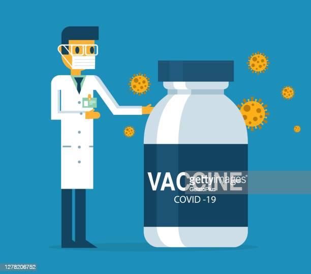 コロナウイルスワクチンを発表する医師 - ウイルス学点のイラスト素材/クリップアート素材/マンガ素材/アイコン素材