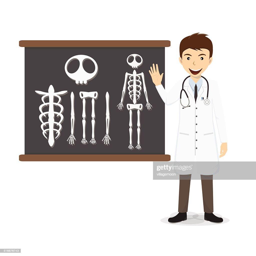 Doctor presenting skeleton on blackboard vector illustration