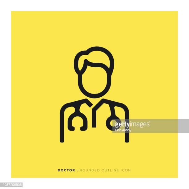 ilustraciones, imágenes clip art, dibujos animados e iconos de stock de icono de línea redondeada del médico - estetoscopio