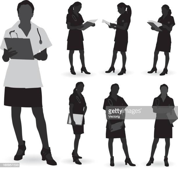 doctor silhouette - professional occupation stock illustrations
