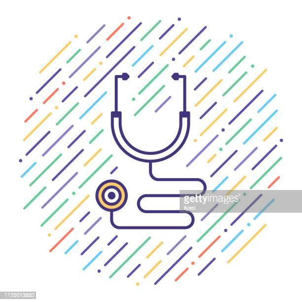 医者の聴診器フラット ライン アイコン イラスト