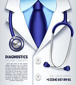 Doctor stethoscope vector background medical diagnostics concept