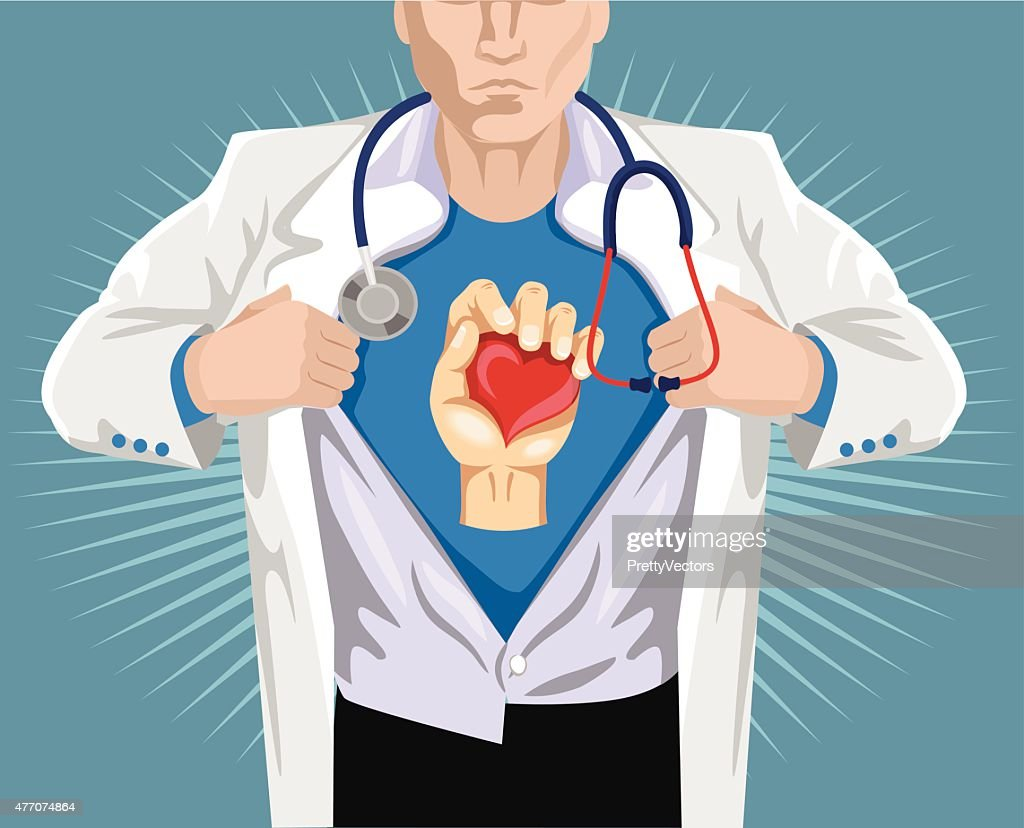 Doctor superhero. Vector flat illustration