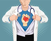 Doctor superhero. Vector flat illustration