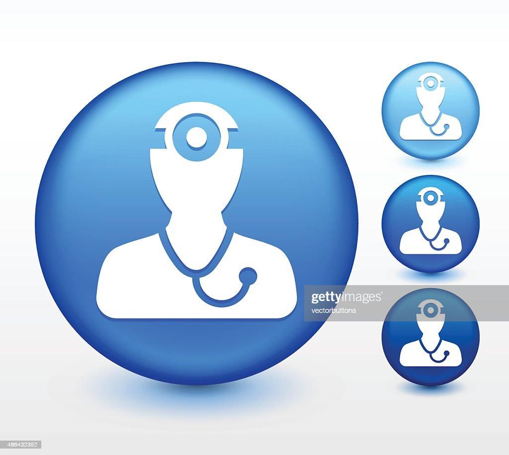 Doctor Surgeon on Blue Round Button