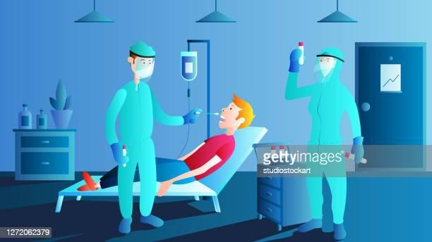 ilustraciones, imágenes clip art, dibujos animados e iconos de stock de doctor tomando prueba de hisopo de garganta de paciente masculino, pcr - asistente de enfermera