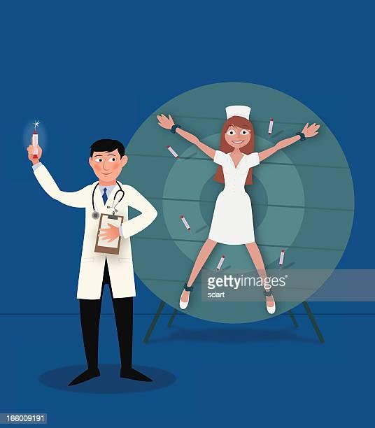 ilustraciones, imágenes clip art, dibujos animados e iconos de stock de médico tirando jeringas - enfermera