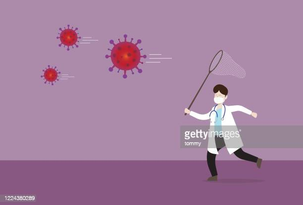 doctor uses a butterfly net to catch a virus - catching stock illustrations