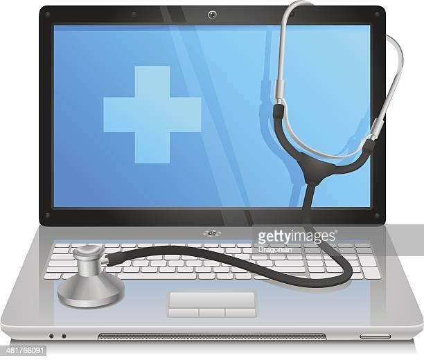 ilustrações, clipart, desenhos animados e ícones de pc médico - estetoscópio