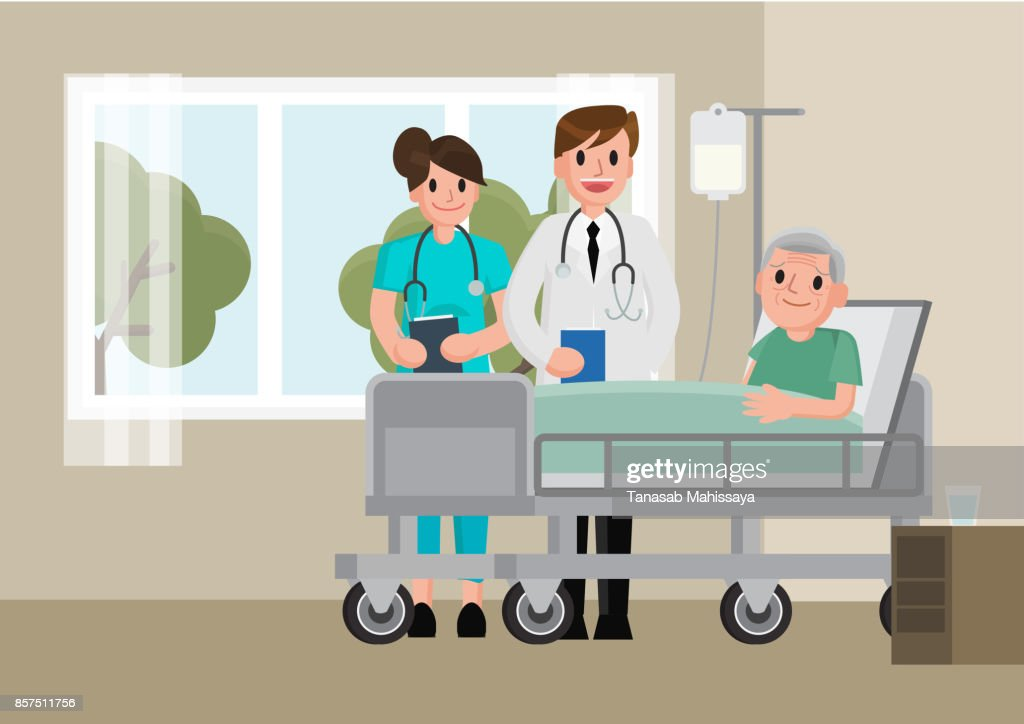 A doctor visits a patient lying on hospital bed. Senior man resting In a Bed.