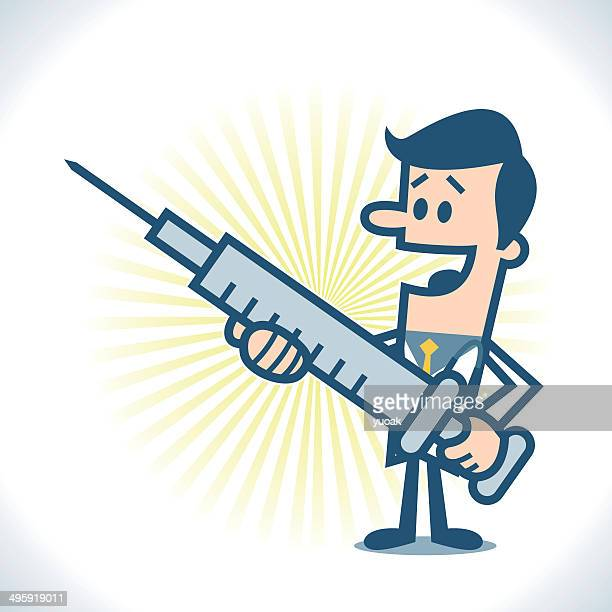 doctor with big syringe - injecting stock illustrations, clip art, cartoons, & icons