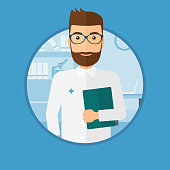 Doctor with file in medical office