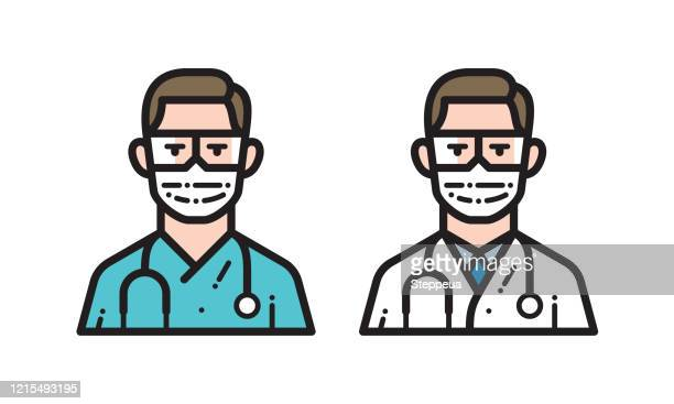 doctor with medical face mask and protective eyeglasses - surgeon stock illustrations