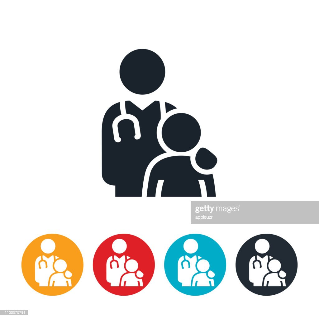 Doctor With Overweight Child Icon : stock illustration
