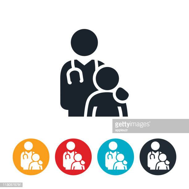doctor with overweight child icon - patient stock illustrations