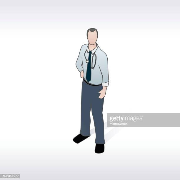 doctor with stethoscope illustration - mathisworks stock illustrations