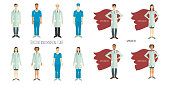 Doctors and medical staff. Professionals in flat style. Set of characters.