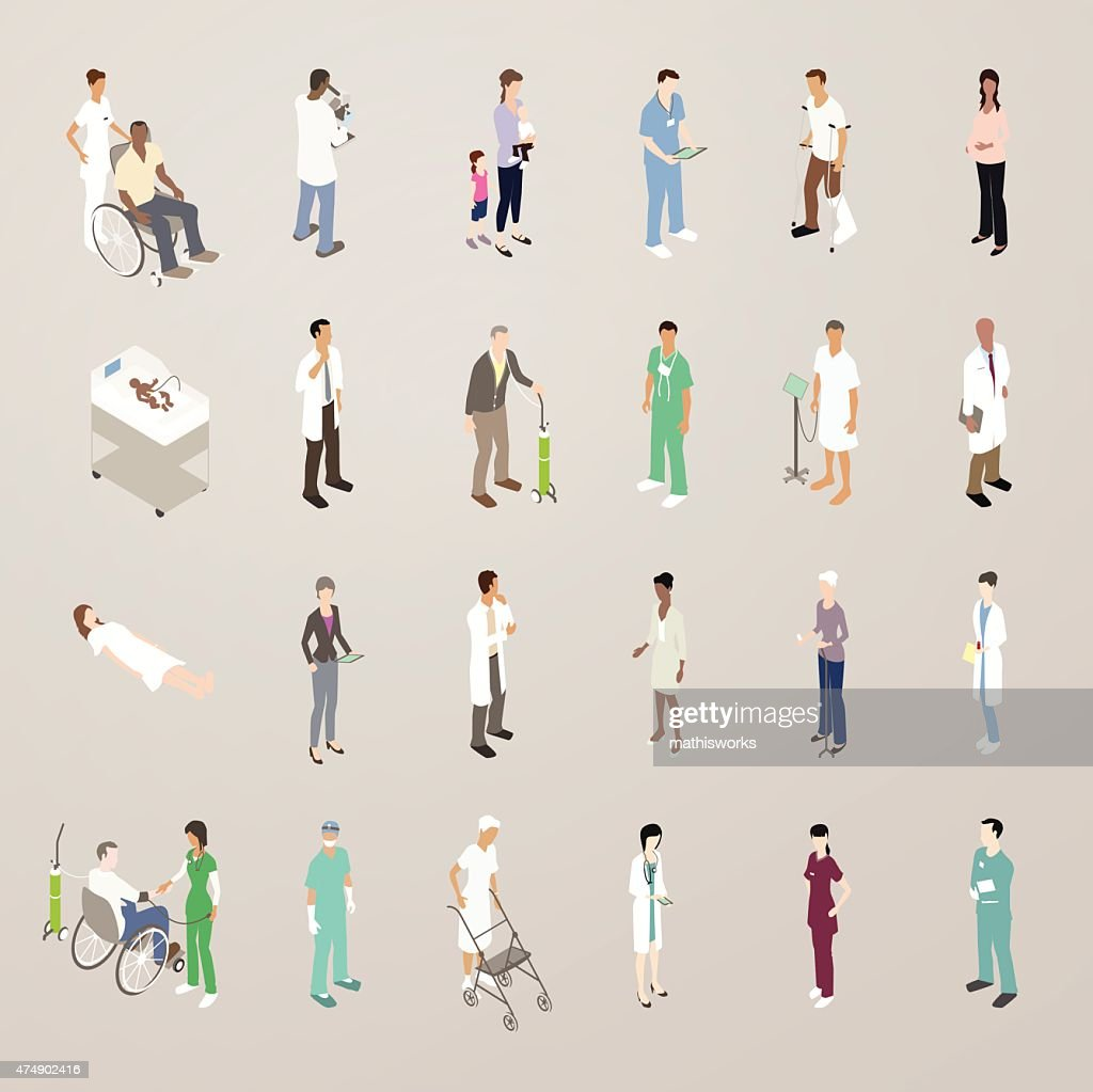 Doctors and Patients - Flat Icons Illustration : Vector Art