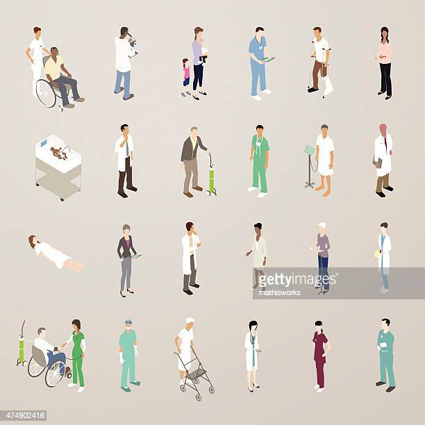 doctors and patients - flat icons illustration - mathisworks business stock illustrations
