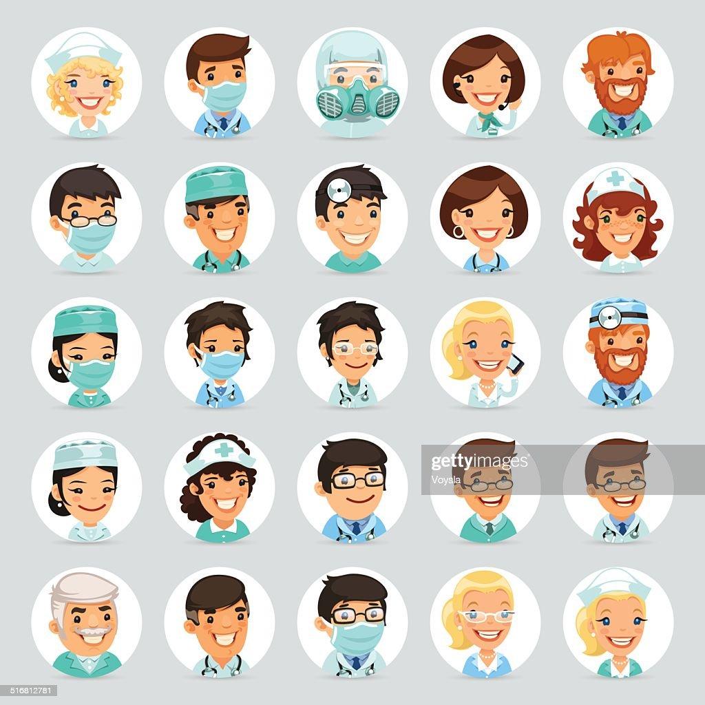 Doctors Cartoon Characters Icons Set2