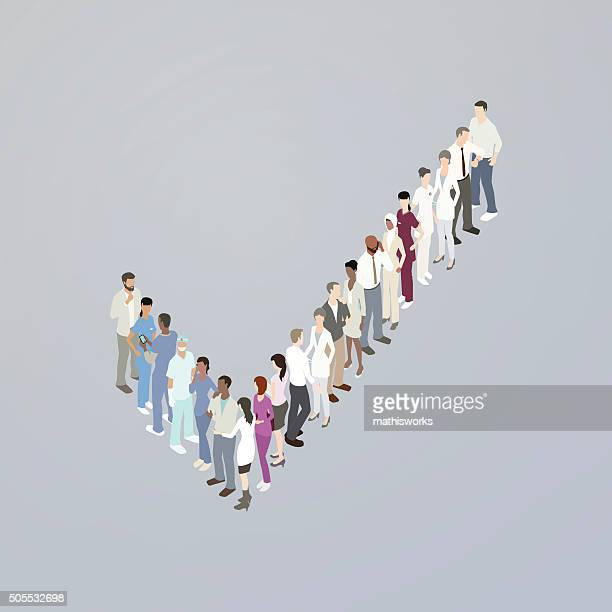 doctors forming a checkmark - mathisworks stock illustrations