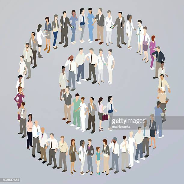 doctors forming a copyright symbol - mathisworks stock illustrations