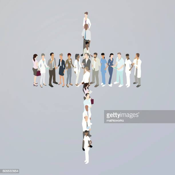 doctors forming a cross - mathisworks stock illustrations