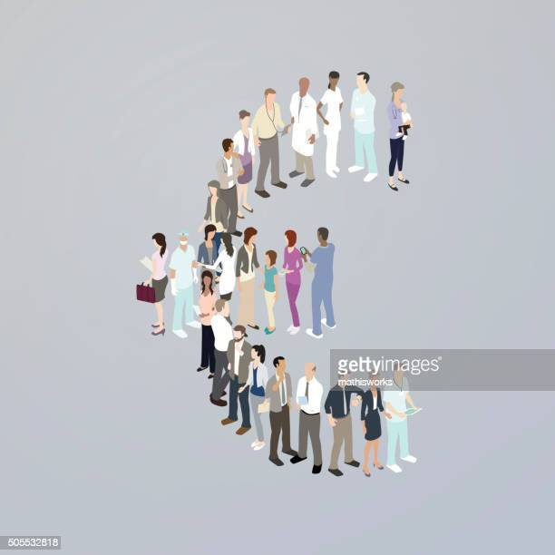 doctors forming a euro sign - mathisworks stock illustrations