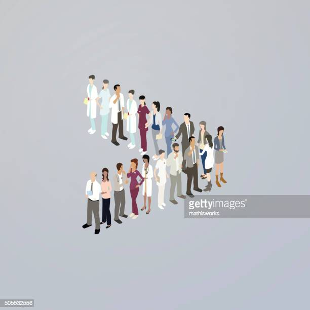 doctors forming a greater than sign - mathisworks stock illustrations