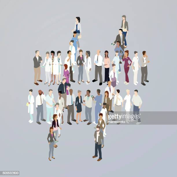 doctors forming a hashtag - mathisworks stock illustrations