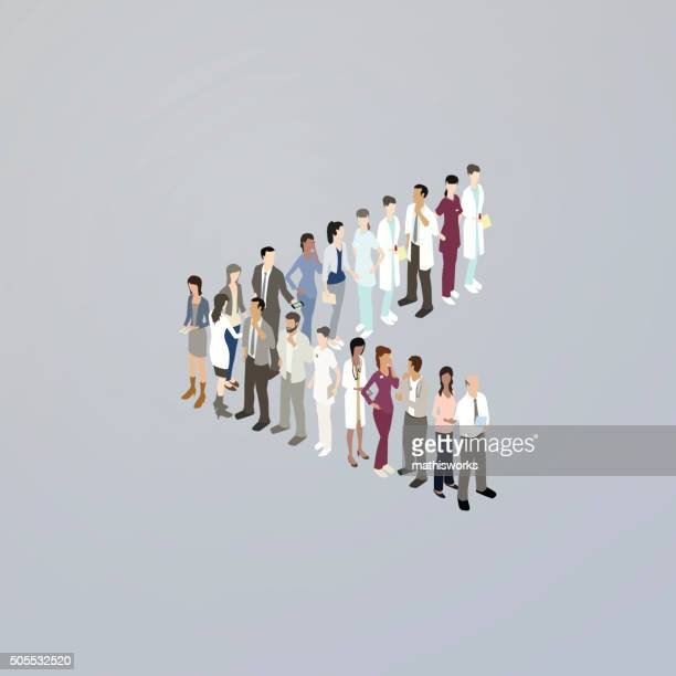 doctors forming a less than sign - mathisworks stock illustrations