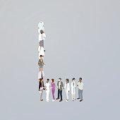 Doctors forming a letter L