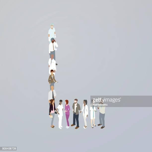 doctors forming a letter l - mathisworks stock illustrations