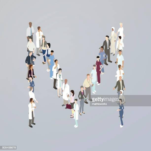 doctors forming a letter m - mathisworks stock illustrations