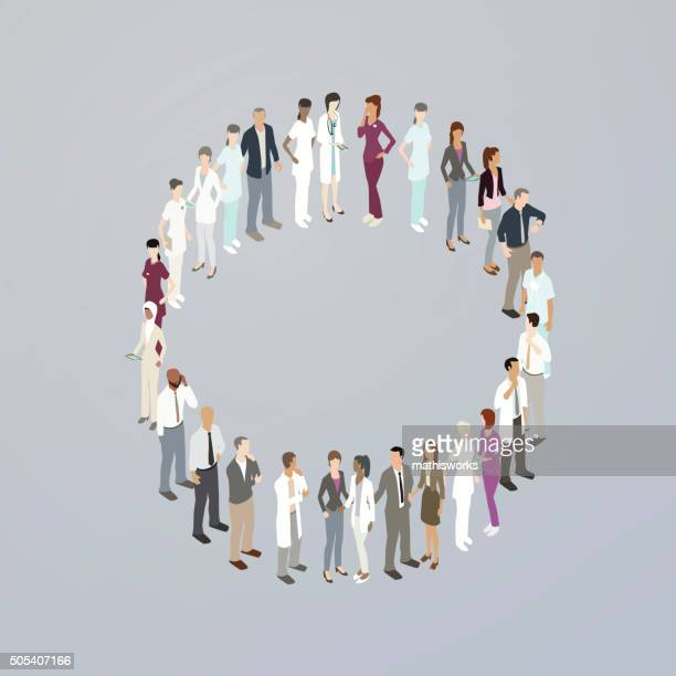 Doctors forming a letter O