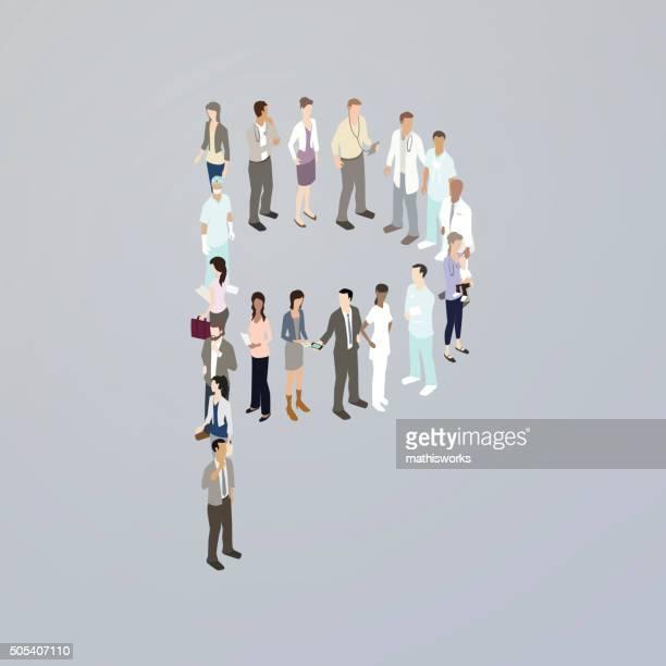 doctors forming a letter p - mathisworks stock illustrations