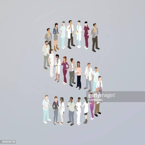 doctors forming a letter s - mathisworks stock illustrations