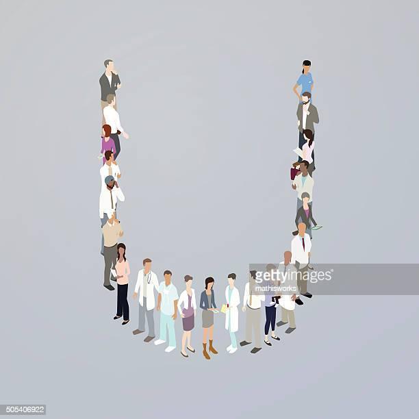 doctors forming a letter u - mathisworks stock illustrations