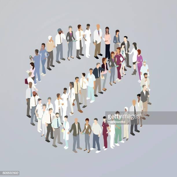 doctors forming a no symbol - mathisworks stock illustrations
