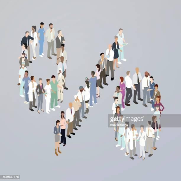 doctors forming a percentage sign - mathisworks stock illustrations