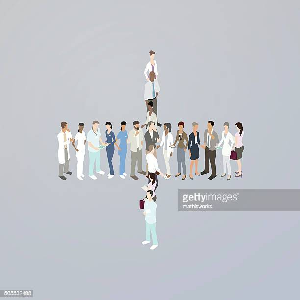 doctors forming a plus sign - mathisworks stock illustrations