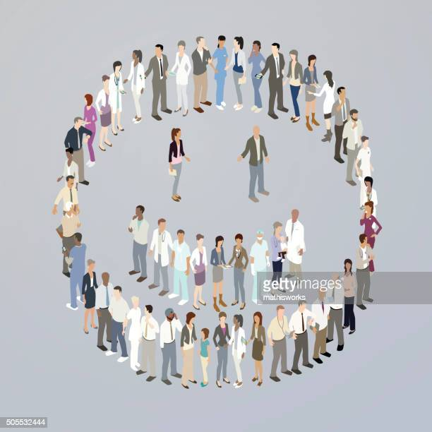 doctors forming a smiley face - mathisworks stock illustrations