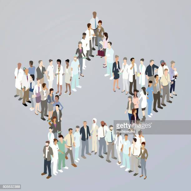 doctors forming a star - mathisworks stock illustrations