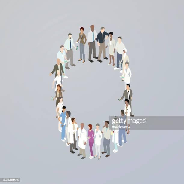 ilustrações de stock, clip art, desenhos animados e ícones de os médicos que formam um zero - mathisworks
