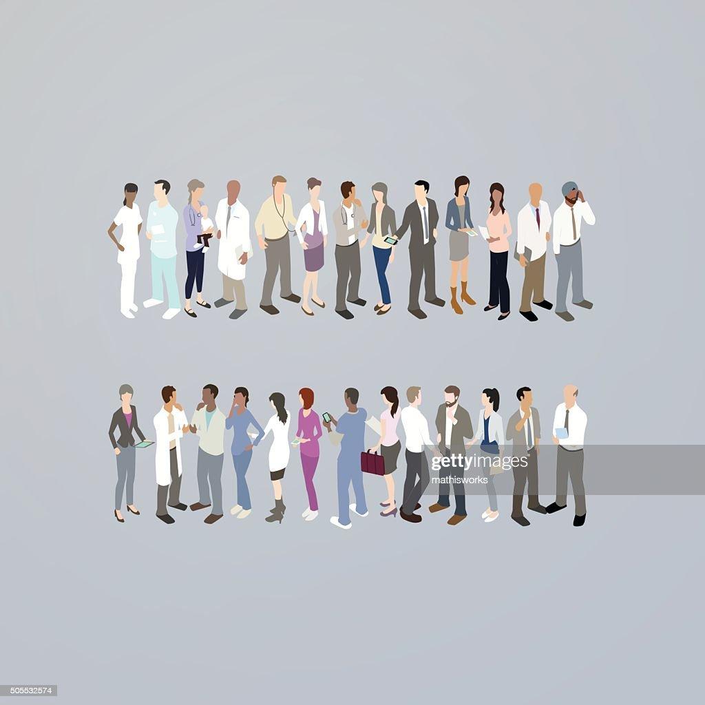 Los médicos formando un signo igual : Ilustración de stock