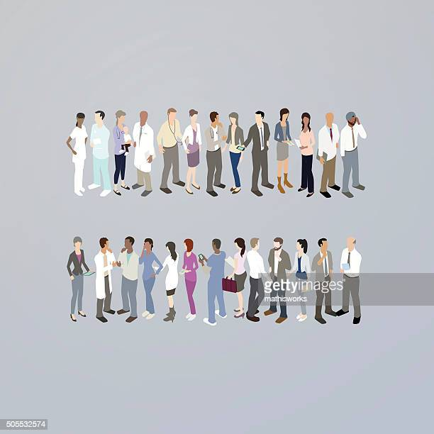 doctors forming an equals sign - equal opportunity stock illustrations, clip art, cartoons, & icons