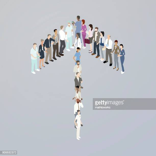 doctors forming an up arrow - mathisworks stock illustrations