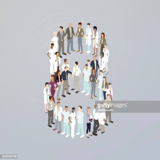 Doctors forming the number eight