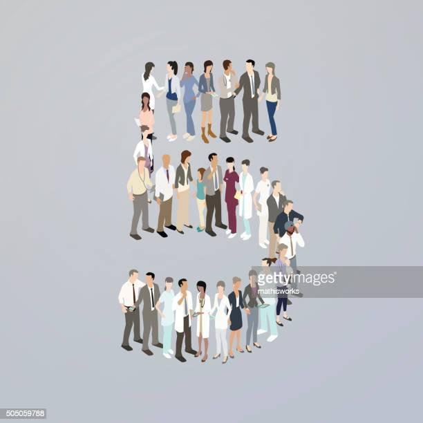 ilustrações de stock, clip art, desenhos animados e ícones de médicos que formam o número cinco - mathisworks
